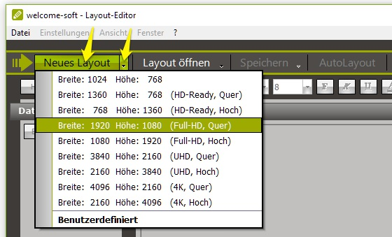 welcome-soft Layout-Editor neues Layout erstellen